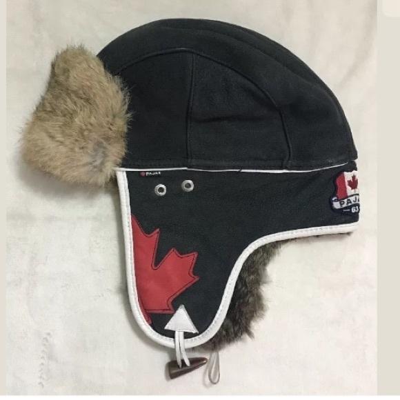 c0bbbbf054a Pajar Leather Rabbit Fur Aviator Trapper Hat. M 5bf1aa6f45c8b3e12a3f7b66